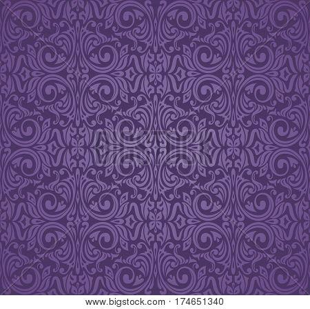 Violet purple Floral  vintage seamless pattern background