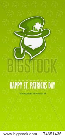 Leprechaun green award banner. Saint Patrick's Day leprechaun with pipe beard hat and clover on green placard vector illustration