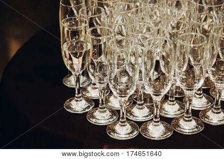 Luxury Champagne Glasses On Table In Restaurant Close-up, Elegant Business Reception Party, Corporat