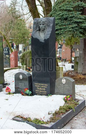 Moscow, Russia. 3 March 2017: Novodevichy Cemetery, The Most Famous Cemetery In Moscow, Russia.