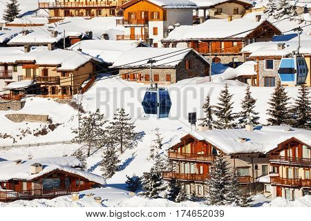 Beautiful cityscape of Sestriere ski resort in the Italian Alps, Piedmont