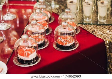 Delicious Dessert With Red Jelly At Wedding Reception Close-up, Business Dinner Party Candy Bar Cate