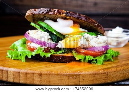 Fresh homemade sandwich with cereals dark rye grain bread, salad lettuce, avocado, tomato, grilled chicken breast, curd cheese, poached egg and green grocery on wooden board. Healthy lifestyle breakfast.