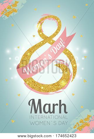 Women s Day celebration greeting card design with gold sparkles