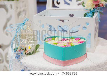 Wedding receipt, white and pink flowers. wedding ceremony