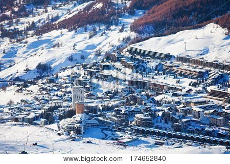 Beautiful panoramic view of Sestriere village, famous ski resort in Piedmont, Italy
