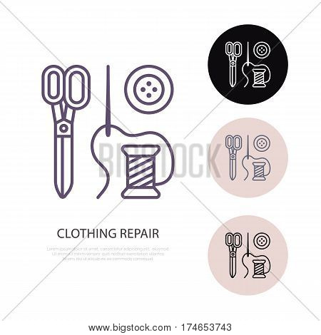 Clothing repair service line logo. Tailor store flat sign, illustration of scissors, needle and buttons. Hand made linear icon.