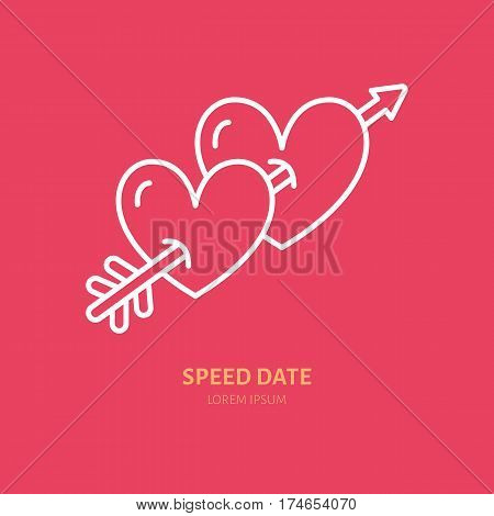 Two hearts pierced by arrow line icon. Vector logo for romantic evening organization agency. Linear illustration for speed date event.