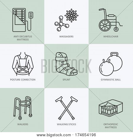 Orthopedic, trauma rehabilitation line icons. Crutches, orthopedics mattress, posture correction, walkers and other medical rehab goods. Health care thin linear signs for clinic and hospital.