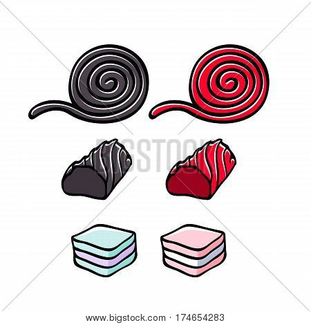 Licorice and marshmallow candies set vector illustration. Roll, stick and layer candy. Hand drawn doodle sketch.