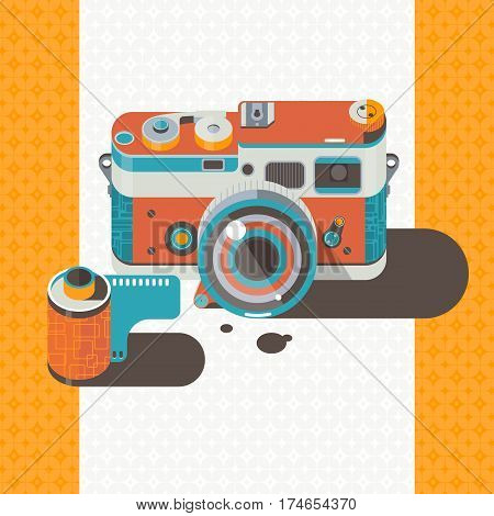 Camera vintage vector Photography Abstract background Hobby