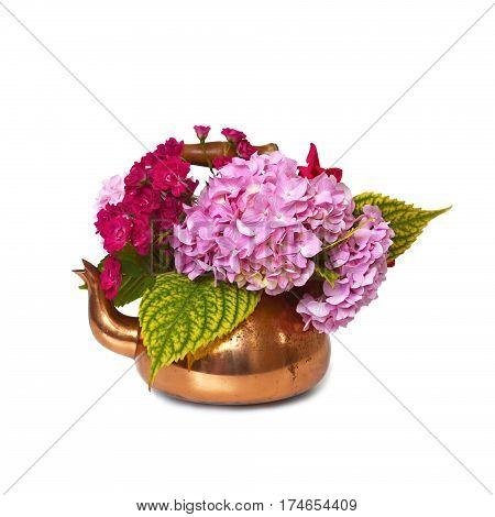 Spring flower arrangement isolated on white background
