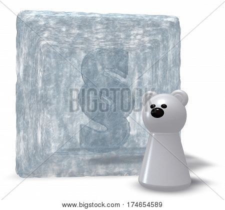 polar bear and paragraph symbol - 3d illustration