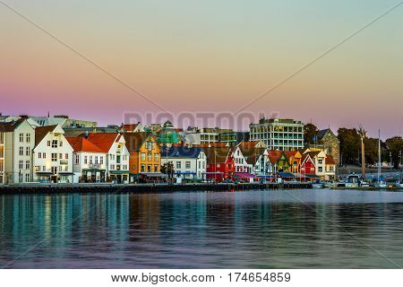 Stavanger at dusk - Charming town in the Norway.