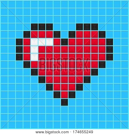 Mosaic heart old video game design. Valentine day background designed for cover greeting card gift wrapping invitations printings brochure or flyer. Vector illustration.