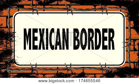 A red brick wall with barbed wire and a United States Border sign