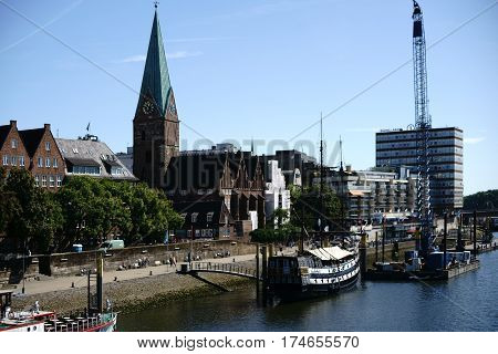 BREMEN, GERMANY - AUGUST 30: The Pannekoeken Ship Admiral Nelson the replica of a frigate on the river Weser on August 30, 2016 in Bremen.