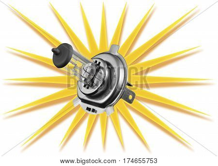 Car bulb on a white background entered into a symbol of the sun