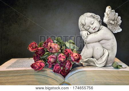 Angel, roses and old book on grunge background