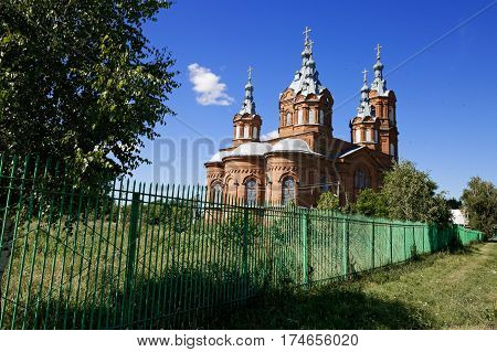 Vintage Orthodox building is located on high ground at the outskirts of the village the heartland of Russia.