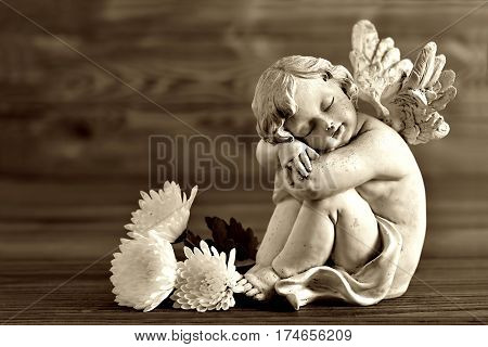 Angel and white flowers on wooden background