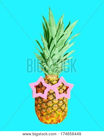 Pineapple With Sunglasses On Blue Background, Colorful Ananas
