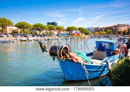 Old Fisherman Boat In The City Centre Of Grado, Friuli-venezia Giulia, Italy