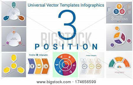 Universal Vector Templates Infographics for 3 positions. Business conceptual icons.