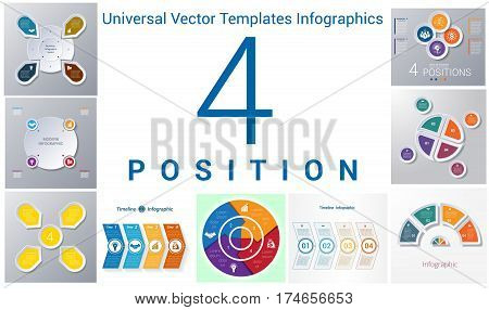 Universal Vector Templates Infographics for 4 positions. Business conceptual icons.