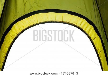 Isolated camp tent. View from inside with a space for your own picture.