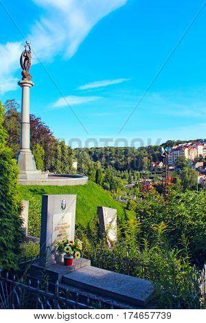 Lviv - circa August 2013 / Ukraine: Lychakiv Cemetery with chapel and graves in Lviv. circa August 2013 in Lviv, Ukraine.
