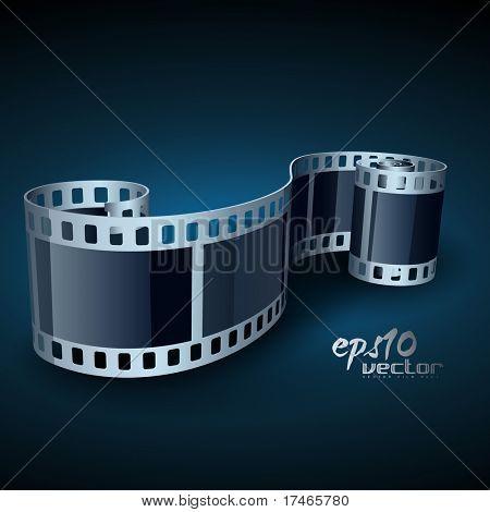 vector realistic 3d film reel poster