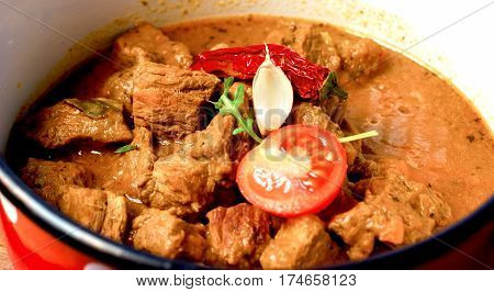 Stew - beef goulash in rustic pot-cruise close up