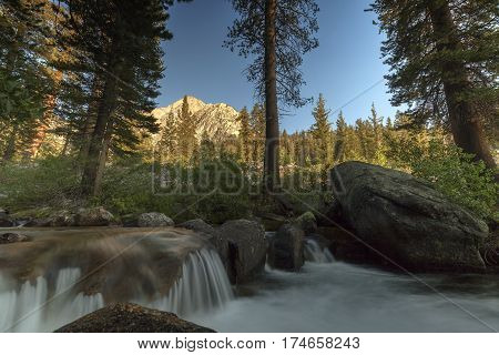 Palisade Creek -  Smooth flowing mountain creek in the Sierra Nevada mountains on the pacific crest trail.