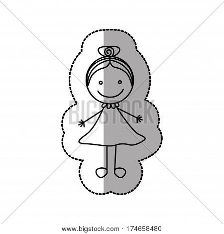 figure happy girl with bow in the head icon, vector illustraction design