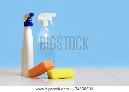 Spray Bottles And Washcloths For Cleaning.