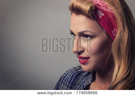 Pin Up Blonde Girl Retro Style. Blond Model Vintage Concept
