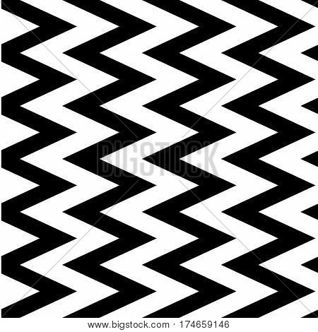 Vertical zigzag chevron seamless pattern background in black and white. Retro vintage vector design.