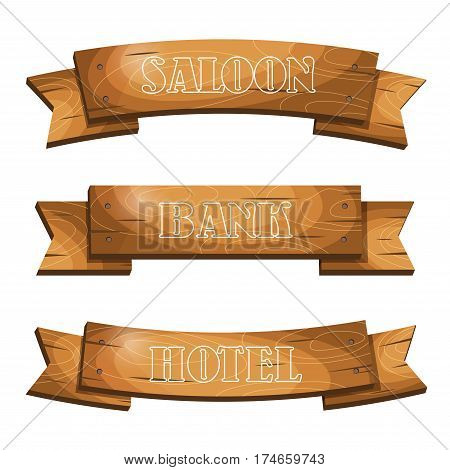 Western Cartoon Style Hanging Wooden Signboards Banners Planks.