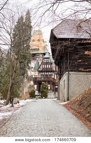 Side View Of Pelisor Castle From Sinaia, Romania