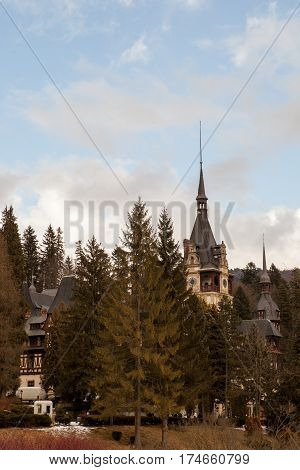 Side View Of Peles Castle From Sinaia, Romania