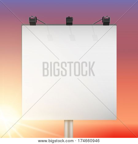 Closeup Empty mockup billboard with sun at sunset. Square format. Vector Illustration isolated on background.