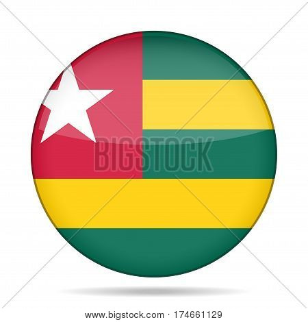 National flag of Togo. Shiny round button with shadow.