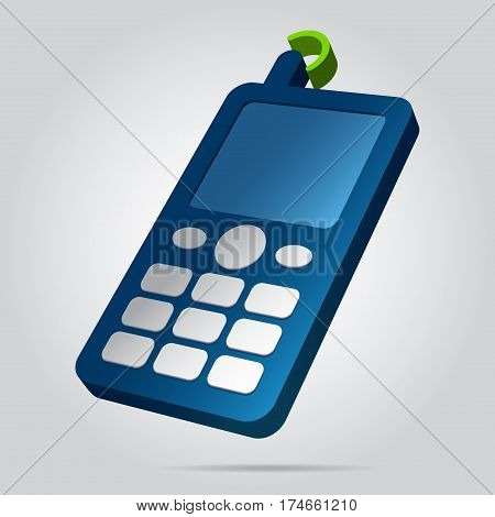 three dimensional illustration - blue old mobile phone white buttons display antenna with green signal and shadow in front of a gray background