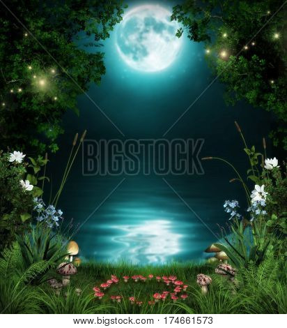 3D illustration of a fairytale forest by an enchanted pond at night in the moonlight.