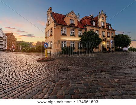 Fairy house in Gdansk Poland on sunset. Europe.