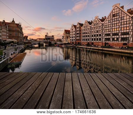 Background with wooden floors during sunset time. Gdansk. Poland Europe.