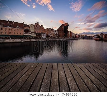 Background with wooden floors in sunset time. Gdansk Poland Europe.
