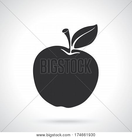 Vector illustration. Silhouette of apple with stem and leaf. Healthy vegetarian food. Template or pattern. Decoration for greeting cards, wallpapers, emblems