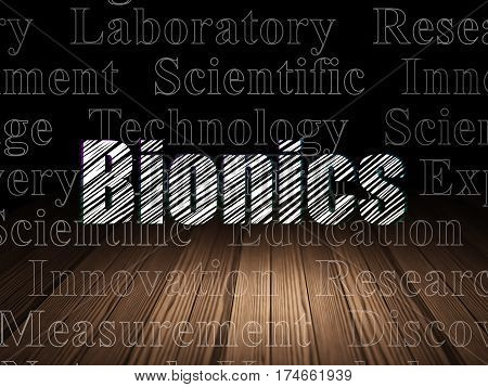 Science concept: Glowing text Bionics in grunge dark room with Wooden Floor, black background with  Tag Cloud